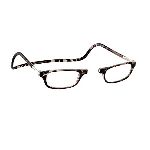 Lesebrille Damen und Herren Original CliC Classic | Magnetbrille mit ausziehbaren Stange | Lesehilfe reading glasses | Lesebrille Lesehilfe (Tortoise, 2.5)