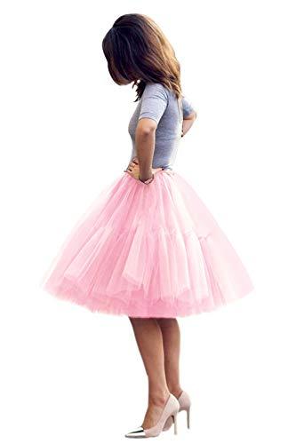 Women Short 5 Layers Midi Tulle Tutu Homecoming Fomral Skirt(Pink,One Size)