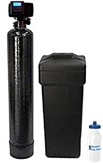 """Fleck WS48-56SXT AFW Filters 5600SXT 48k with 1"""" Bypass Best Selling Softener Digital SXT Metered Whole House System-Includes Water Bottle with Install kit, Black"""