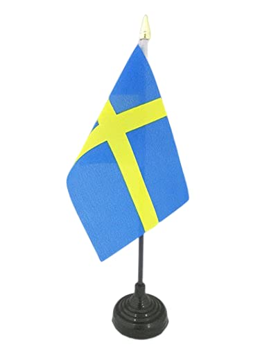 AZ FLAG Bandera de Mesa de Suecia 15x10cm - BANDERINA de DESPACHO Sueca 10 x 15 cm Punta Dorada