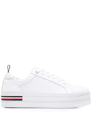 Luxury Fashion | Tommy Hilfiger Dames FW0FW04851YBS Wit Leer Sneakers | Lente-zomer 20
