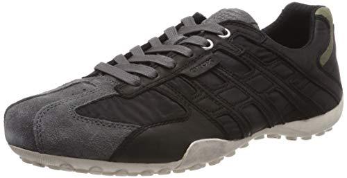 Geox Uomo Snake a, Zapatillas para Hombre, Black/Dk Grey C0005, 42 EU