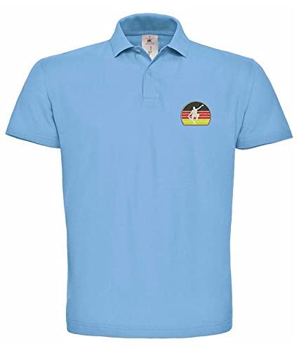 Natshop2000 Skateboarden Deutsche Flagge Fahne Sport Bestickte Polo Poloshirt Premium-Qualität - SPRT 072- Blau