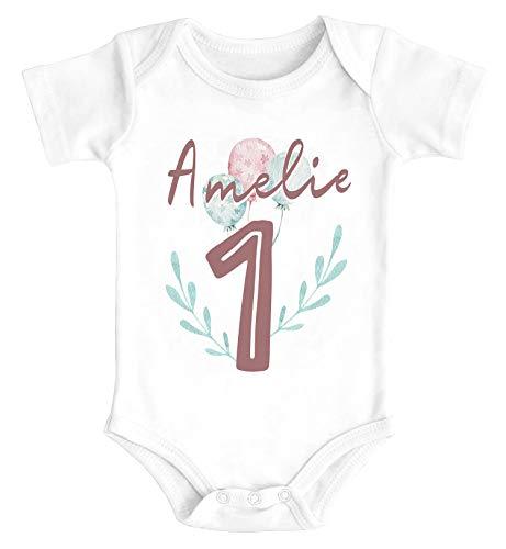 SpecialMe® Baby Body mit Namen und Zahl 1 Alter 2 Geschenk zum Geburtstag Luftballons 1 weiß 6-12 Monate