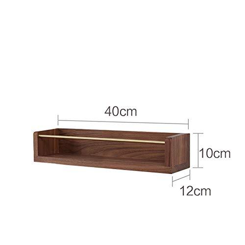 Drijvende Planken, Houten Decoratief, Drijvende Plank Slaapkamer Woonkamer, Home Decor Plant Plank Foto Richel, Drijvende Opslag Plank,Beuken Rek-Zwarte Walnoot_40Cm