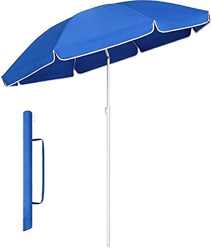 MVPower Parasol,sombrillas redondas de 160 cm plegables, sombrilla de mercado protección UV UPF 20+, sombrilla de jardín impermeable, para el jardín, balcón y terraza, 160 g/m²,Azul Real