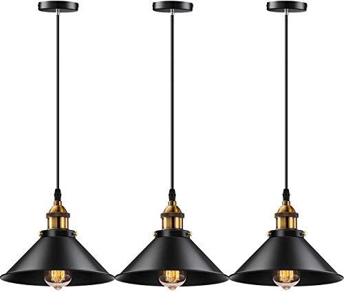 Licperron Industrial Pendant Light E26 E27 Base Lampara Colgante Vintage Hanging Pendant Lights Retro Pendant Light Fixture Home Kitchen Lighting, Bar Lights, Lamparas Colgantes, 3 Pack