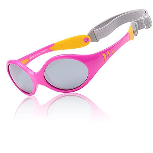 DUCO Kinder Sonnenbrille Polarisierte Sportbrille TPEE Flexibeles Gestell für Baby Mädchen oder Junge 0-24 Monate K012 (Gelb)