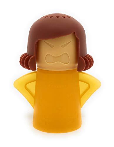 MovilCom® - Angry Mama Limpiador de Microondas Limpiador de Vapor de Acción Rápida de Cocina Elimina con Agua y Vinagre Desinfecta tu microondas sin detergente - Amarillo