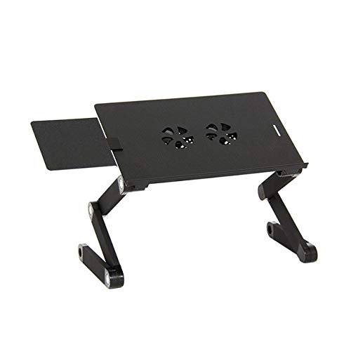 JDJD Portable 360 Degree Adjustable Computer Desk Foldable Laptop Notebook Lap PC Folding Desk Table Vented Stand Bed Tray Black Bed Tray (Color : Black)
