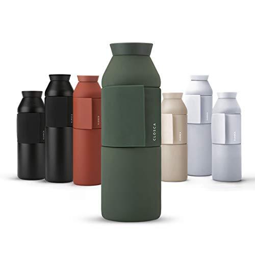 Closca Botella de Agua de Acero Inoxidable Bottle Wave. Cantimplora Termo Enganchable para niños y Adultos. Sin BPA. (Amazonia, 600ml)