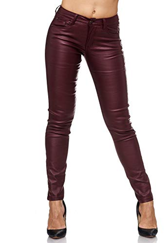 EGOMAXX Damen Treggings Leder Optik Biker Stretch Hose Faux Hüfthose, Farben:Rot, Größe:38 / M
