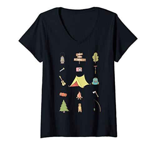Damen Camping Zelt Fans Lustige Camper Icons Outdoor Geschenk T-Shirt mit V-Ausschnitt