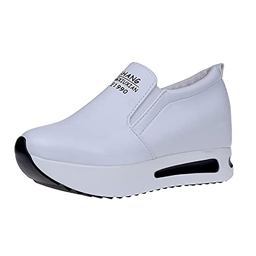 QIUTIANQ Zapatos De Plataforma con Plataforma Acolchada De Piel con Cuña Redonda,Calzado De Mujer De Deportes De Ocio Al Aire Libre,Zapatos Mecedores con Aumento Interno (Blanco, 39)