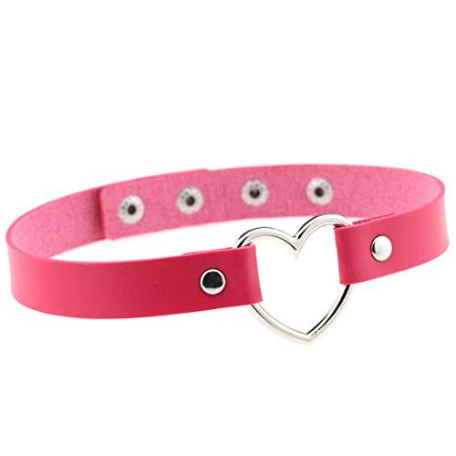 Demarkt Halsband Halskette Choker Halsketten Velvet Halskette Herz Legierung und Leder Punk (Rot Rosa)