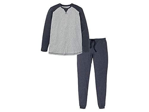 Herren Pyjama Schlafanzug Pyjama Set Nachtwäsche Plussize Grau 3XL(64/66)