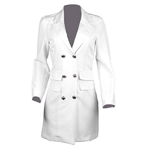 FOReverweihuajz Office Lady Lapel V-hals Dubbele Borst Blazer met lange mouwen Bodycon Mini Jurk