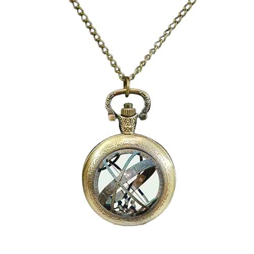 Reloj de bolsillo astronómico con esfera de sol, reloj de bolsillo de astronomía, color bronce aguamarina astrológico, vintage, astronomía