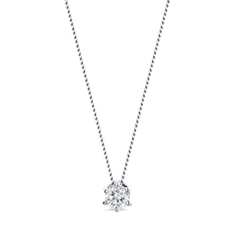 Miore necklace in 14 kt 585 white gold with 6 prong pendant of brilliant cut diamond 0.10 ct- length 45 cm