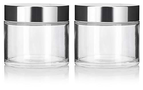 Clear Glass Heavy Base Thick Wall Luxury Professional Balm Jars with Silver Metal Lid - 8 oz / 220 ml (2 Pack)