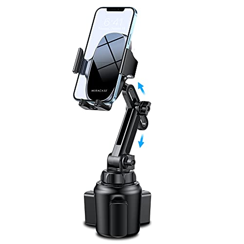 [2021-2nd Generation] Cup Phone Holder for Car, Miracase Upgraded Universal Hands Free Car Cup Holder Phone Mount Cradle with Adjustable Long Neck Fit for iPhone, Samsung and All Cell Phones