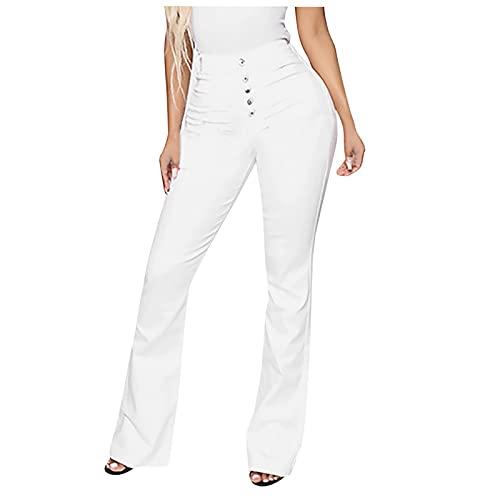 pamkyaemi Vaqueros de cintura alta para mujer, corte ajustado, elásticos, estilo vaquero, estilo vintage, cintura alta, Blanco, XL