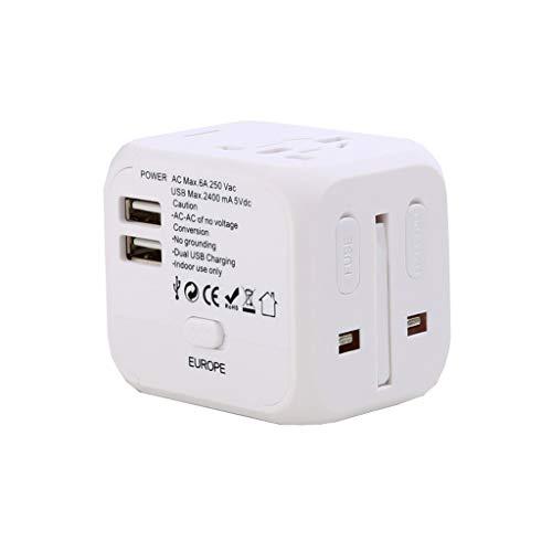 PIAOLING Adaptador de Viaje Universal, Adaptador de Enchufe Universal para Viajes mundiales, Adaptador de energía Internacional con Puertos USB C para EE. UU. UE UK AUS (Color : White, tamaño : 2USB)