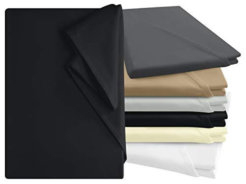 npluseins Bettlaken - 100{5b7515d627285b34bc8b47f6bf41882eccd31d2d1be953d3969dffbde8adf24b} Baumwolle - in 6 Farben - in 3 verschiedenen Größen - Haushaltstuch ohne Spanngummi, ca. 150 x 250 cm, schwarz