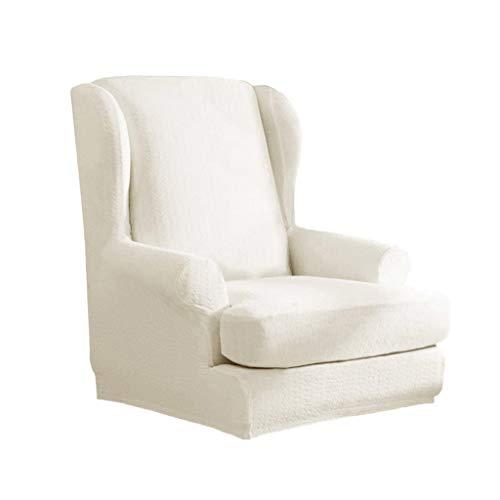 B Blesiya Sesselhusse Sesselbezug Sofaüberwurf für Ohrensessel Fernsehsessel - Weiß grau