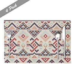 Ogden Moll Ikat Muster Tisch Tischsets,Hitzebeständige Tischsets Ethnische Ikat Muster Geometric Tribal Farm Tischsets,4 Stück Set