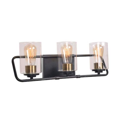 Kenroy Home Kenroy 93986BL Transitional Three Light Vanity from Carleigh Collection in Two-Tone Finish, Matte Black w/Antique Brass