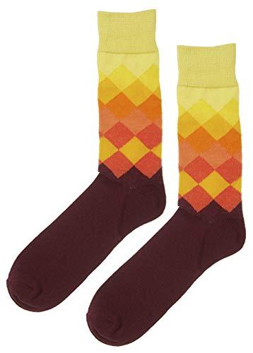 MIK Funshopping Herren Socken Strümpfe Crazy Soxx 1 Paar mit modischem Rautenmuster Ökotex zertifiziert (Gelb-Bordeaux, 43-46 EU)