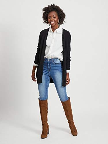 Vila Clothes Viril L/s Open Knit Cardigan-Noos Chaqueta Punto, Negro (Black), 34 (Talla del Fabricante: X-Small) para Mujer