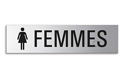 OFFORM Plaque de Porte en Acier INOX brossé Femmes 160x40 mm No.8230