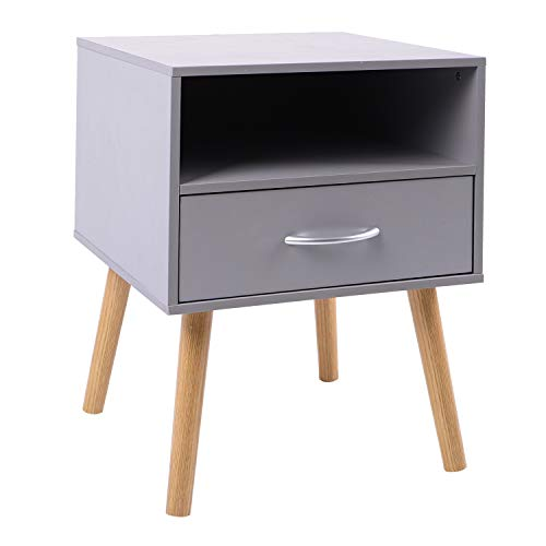 Bedside Table One Drawer Storage Wood Small Side Table End Table (Iron Gray)