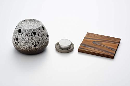 ヤマキイカイ(Yamakiikai) 香炉 グレー 本体/約径11.0×高8.0cm、受皿/約径6.0×高1.0cm、キャンドル/約径3.8×高1.6cm、敷板/約縦10.8×横11.0cm 常滑焼 石風茶香炉(敷板付)