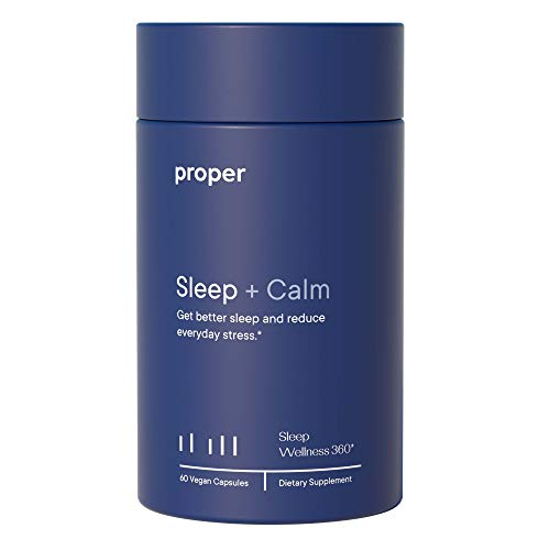 Proper Sleep + Calm - Natural Healthy Sleep Solution and Sleep Aid for A Full Night of Restful Sleep, Relaxation and Stress Relief - 60 Vegan Capsules, No Melatonin, Non-GMO, Sugar-Free, Time Release