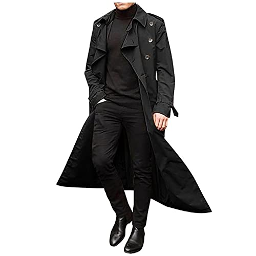Men's Double-Breasted Trench Coat Oversize Over The Knee Casual Trench Coat Lapel Long Coat Plush Coat Quick-Drying Coat Black