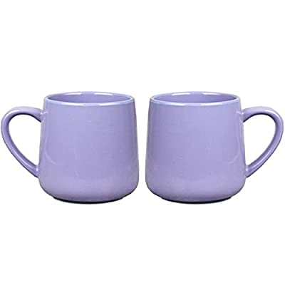 Bosmarlin Glossy Ceramic Coffee Mug, Tea Cup for Office and Home, 18 oz, Suitable for Dishwasher and Microwave(Purple, 2)
