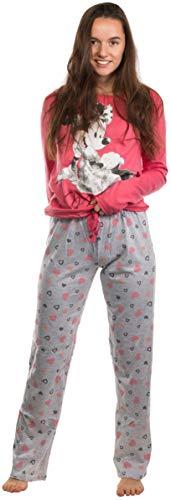 Brandsseller Pijama de dos piezas para mujer, pijama de ocio, conjunto con motivos en estilo de Minnie Mouse. Rosa y gris claro. M