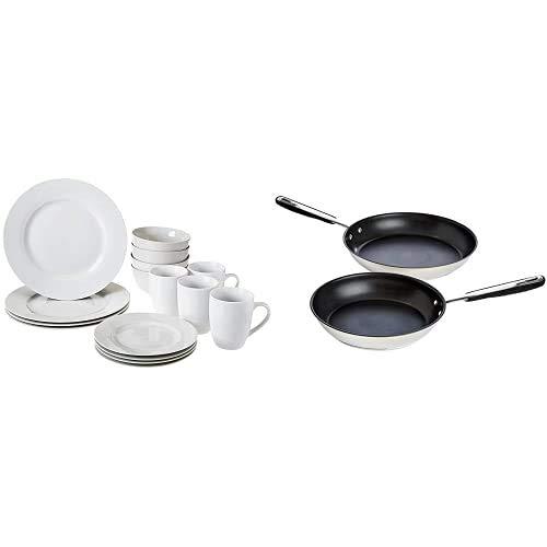 Amazon Basics - Vajilla para 4 personas (16 piezas) + Juego de sartenes de acero inoxidable