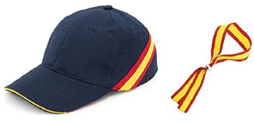 crisandecor Gorra Azul Bandera ESPAÑA con Regalo Pulsera ESPAÑA