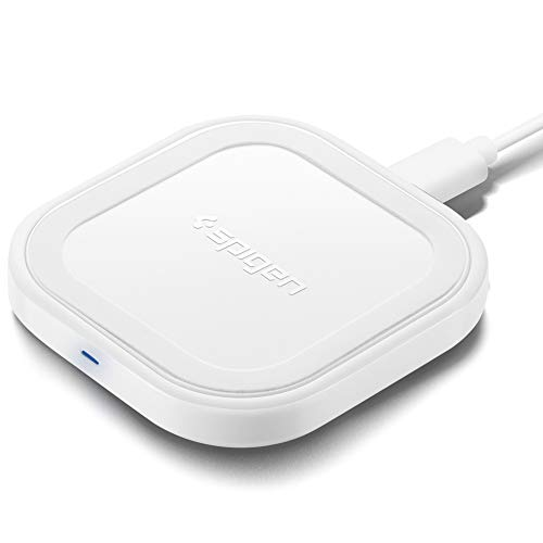 Spigen SteadiBoost Compact Fast Wireless Charger Mini Qi Certified 10W Pad Works with Galaxy S20/S20+/Ultra/Z Flip, S10,Note 10, iPhone SE (2020) 11/11 Pro/Max//XR/XS/X/& Other Qi (No AC Adapter)