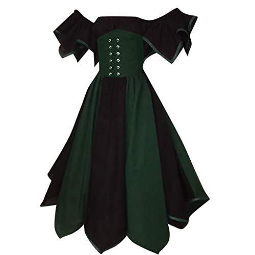 Sannysis Damen Mittelalterliche Kleid Kurzarm Mittelalter Party Kostüm Maxikleid Steampunk Corsage Spitzenrock Bluse für Karneval Fasching Halloween (3XL, Marine)