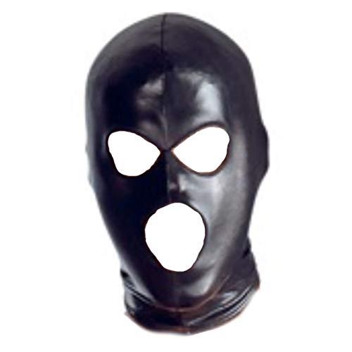 Forart Full Cover Haubenmaske Elastisch Schwarz Offene Augen Offener Mund Gesichtsmaske Augenbinde Maske Cosplay Kostüm