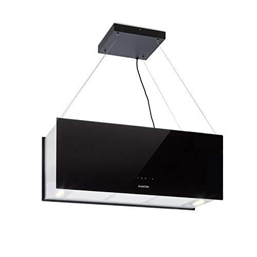 Klarstein Kronleuchter XL | Campana extractora 90 cm tipo isla con cristal espejado en vidrio de color blanco o negro. Gran capacidad de aspiración y  Clase energética A