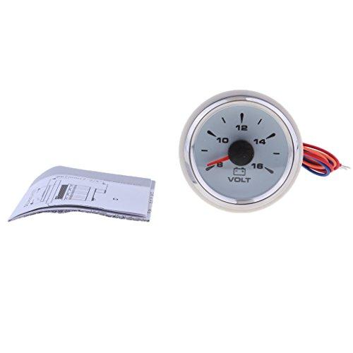 Baoblaze Jauge Voltmètre Tension 8-16V LED Lumière 52mm 2 ''