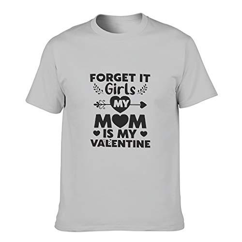 Camiseta de algodón para hombre, diseño de dibujos animados con texto 'Sorry Girls My Mom is My Valentine' Gris plateado. XXL