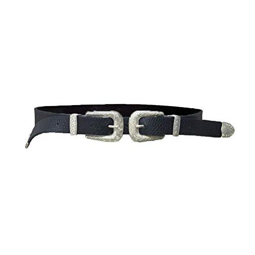 Ogquaton - Cinturón de mujer, doble hebilla gruesa de piel sintética, para mujer, cinturón de mujer, correa de regalo, duradero y útil