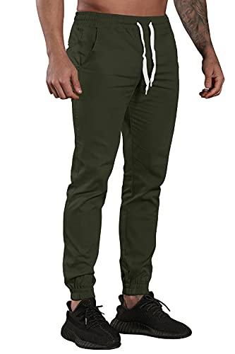 AitosuLa Herren Jogginghose Baumwolle Freizeithose Sport Slim Fit Trainingshose Sweatpants Jogger Pant (Grün, Large)